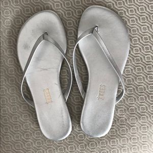 Tkees Mini Metallic Flip Flops-silver-sz 1